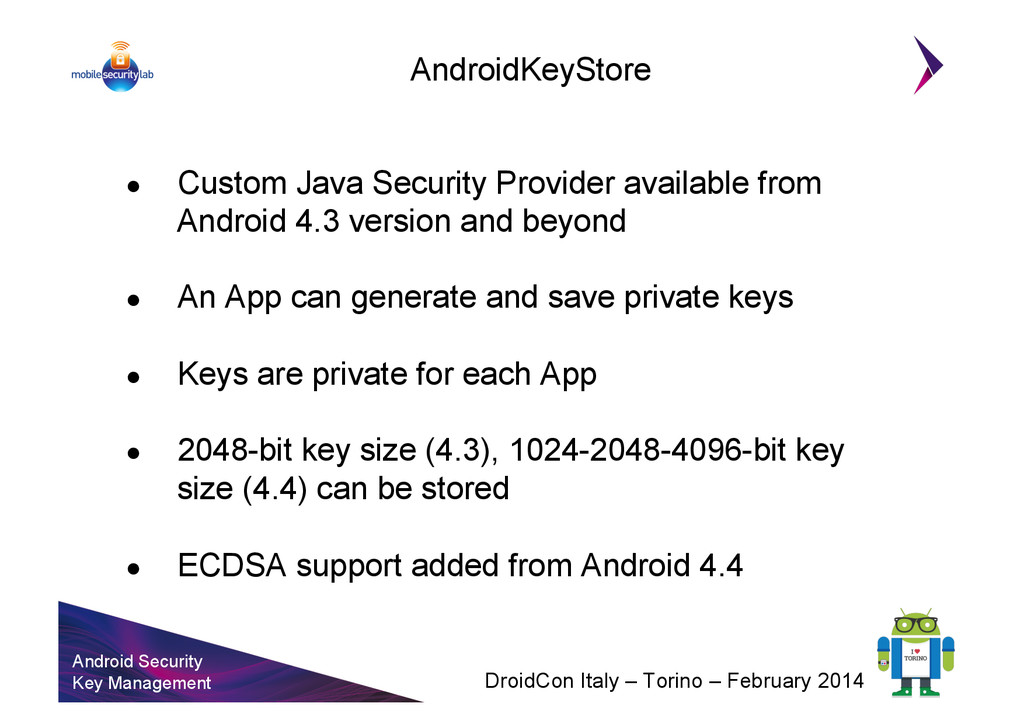 Android Security Key Management DroidCon Italy ...