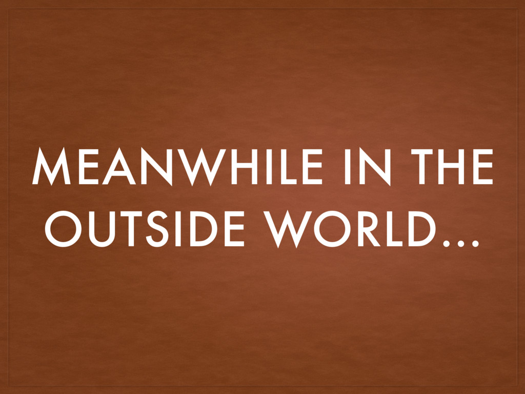 MEANWHILE IN THE OUTSIDE WORLD…