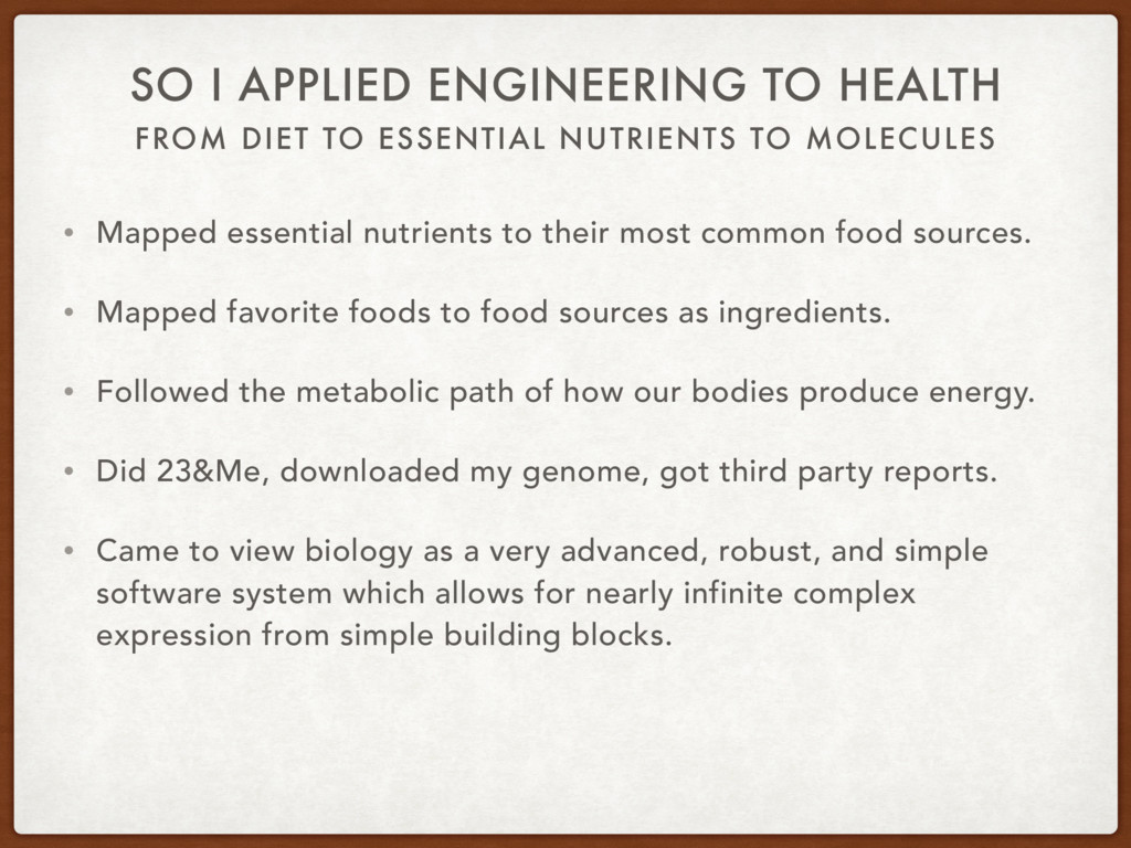 FROM DIET TO ESSENTIAL NUTRIENTS TO MOLECULES S...