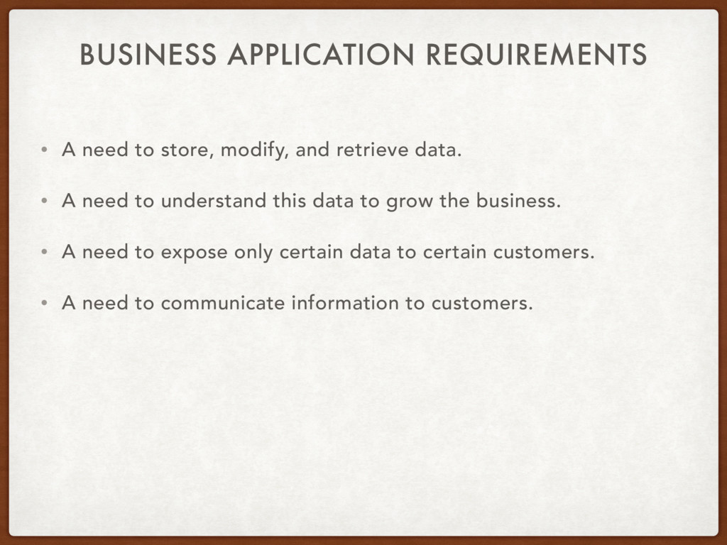 BUSINESS APPLICATION REQUIREMENTS • A need to s...