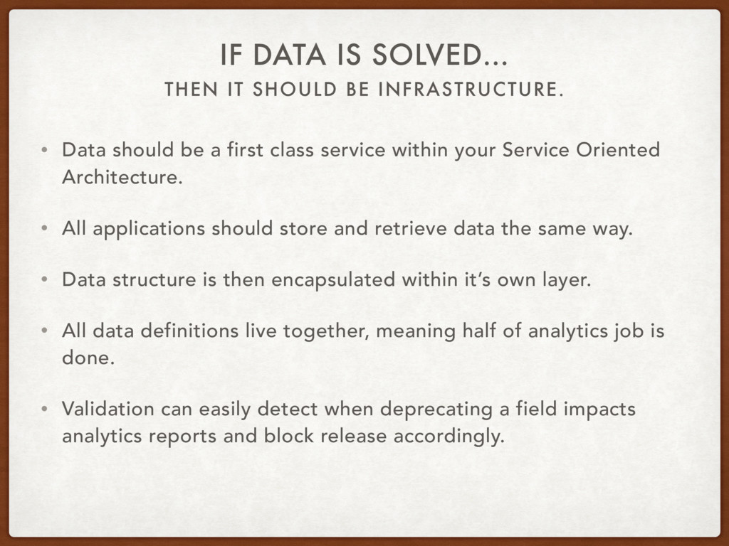 THEN IT SHOULD BE INFRASTRUCTURE. IF DATA IS SO...