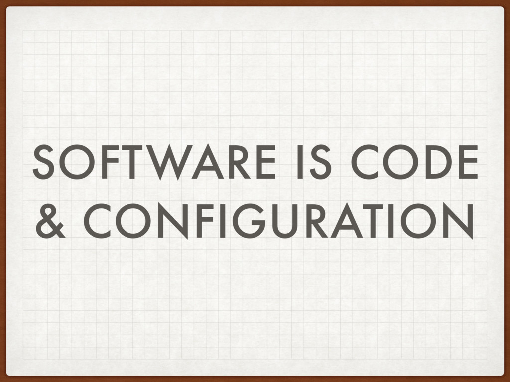 SOFTWARE IS CODE & CONFIGURATION