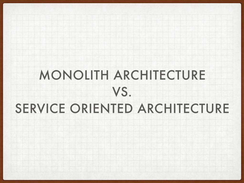 MONOLITH ARCHITECTURE VS. SERVICE ORIENTED ARCH...