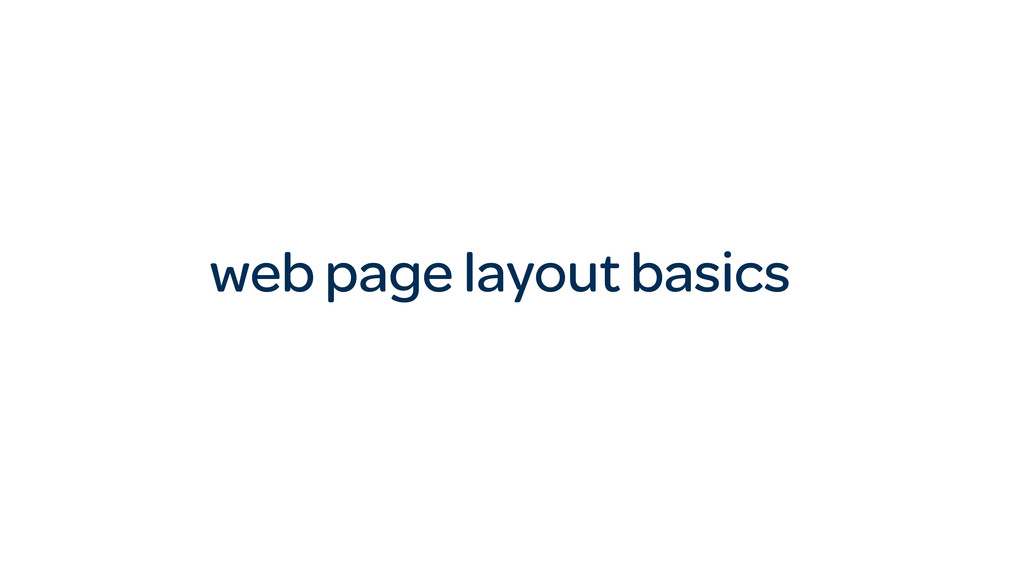 web page layout basics