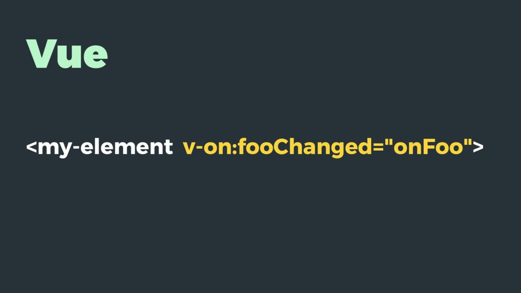 "Vue <my-element v-on:fooChanged=""onFoo"">"