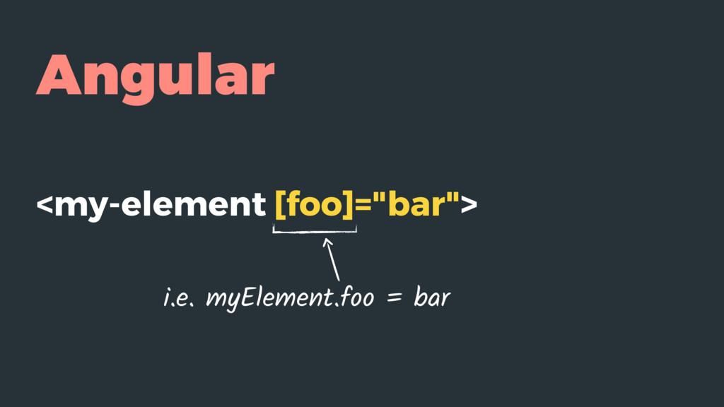 """Angular <my-element [foo]=""""bar""""> i.e. myElement..."""