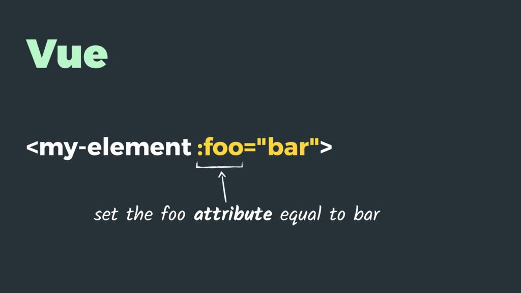 "Vue <my-element :foo=""bar""> set the foo attribu..."