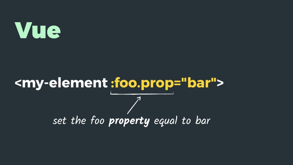 """Vue <my-element :foo.prop=""""bar""""> set the foo pr..."""