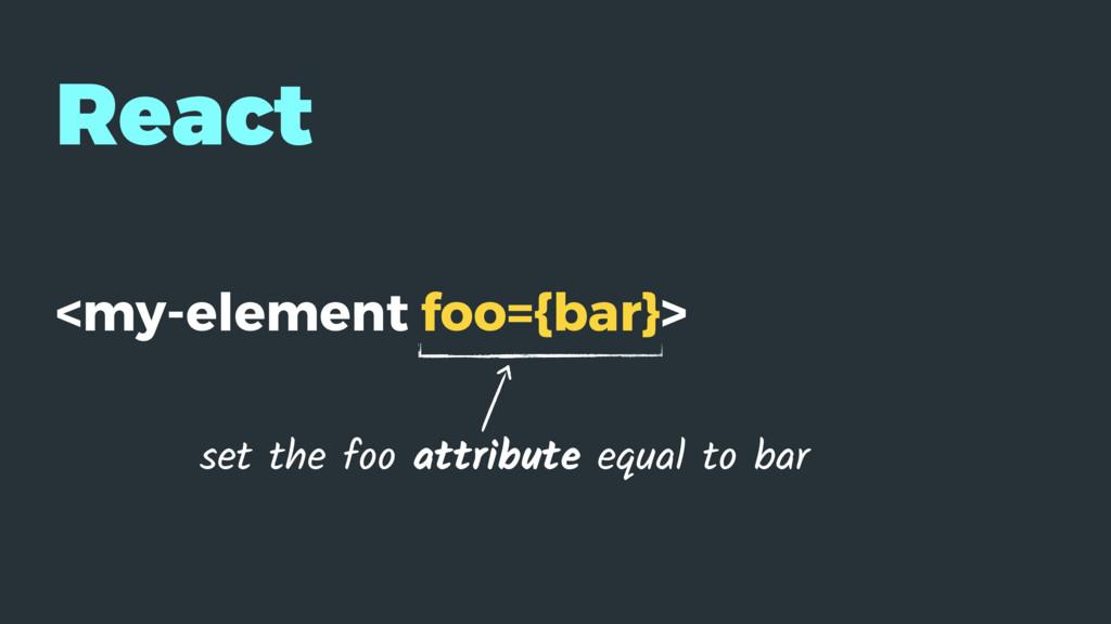React <my-element foo={bar}> set the foo attrib...