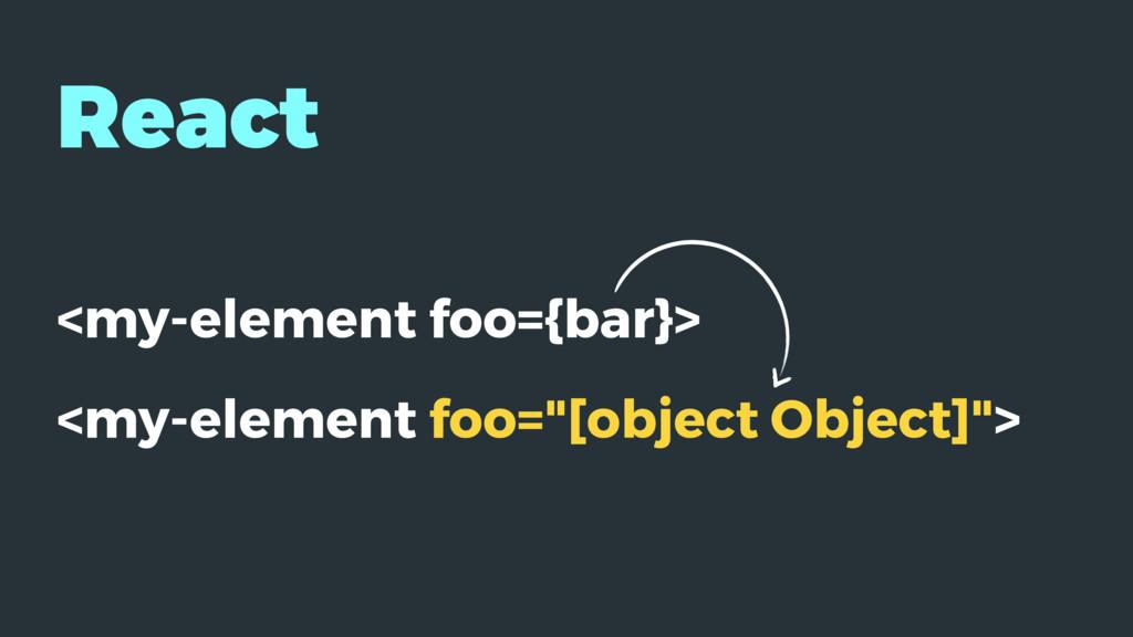 "React <my-element foo={bar}> <my-element foo=""[..."