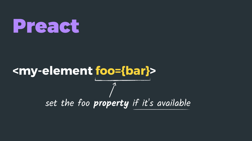 Preact <my-element foo={bar}> set the foo prope...