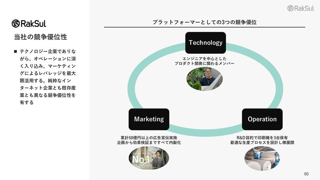 60 当社の競争優位性 ◼ テクノロジー企業でありな がら、オペレーションに深 く入り込み、マ...