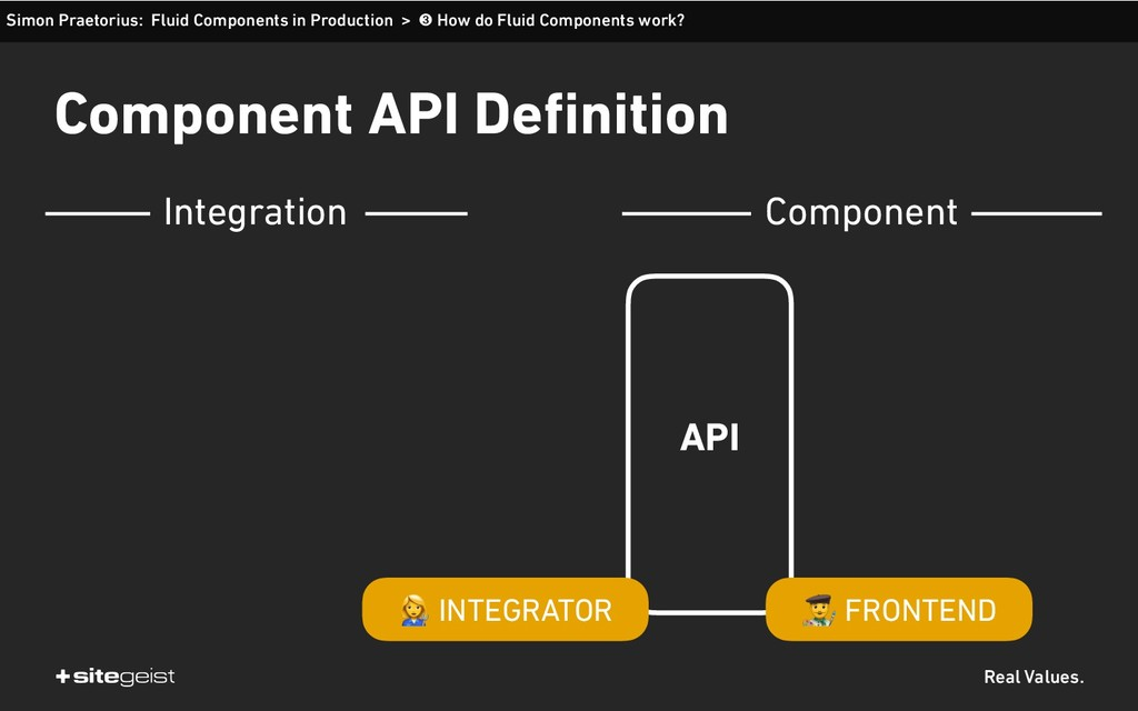 Real Values. Component API Definition API $ FRO...