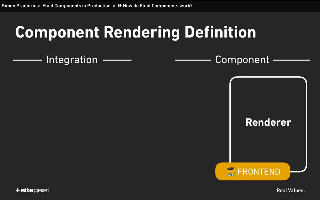 Real Values. Component Rendering Definition Sim...