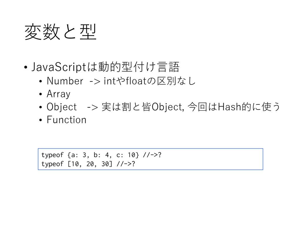 変数と型 • JavaScriptは動的型付け言語 • Number -> intやfloat...