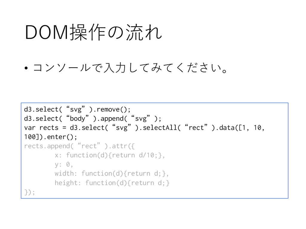 """DOM操作の流れ d3.select(""""svg"""").remove(); d3.select(""""..."""