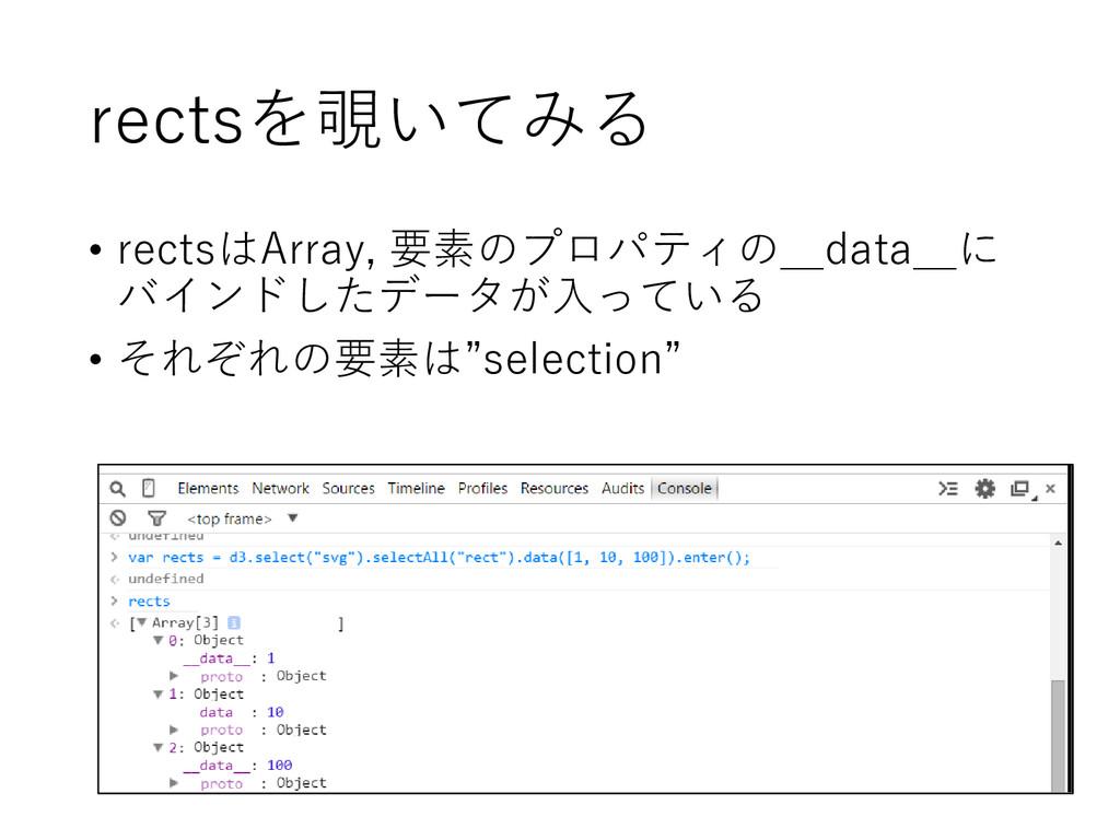 rectsを覗いてみる • rectsはArray, 要素のプロパティの__data__に バ...