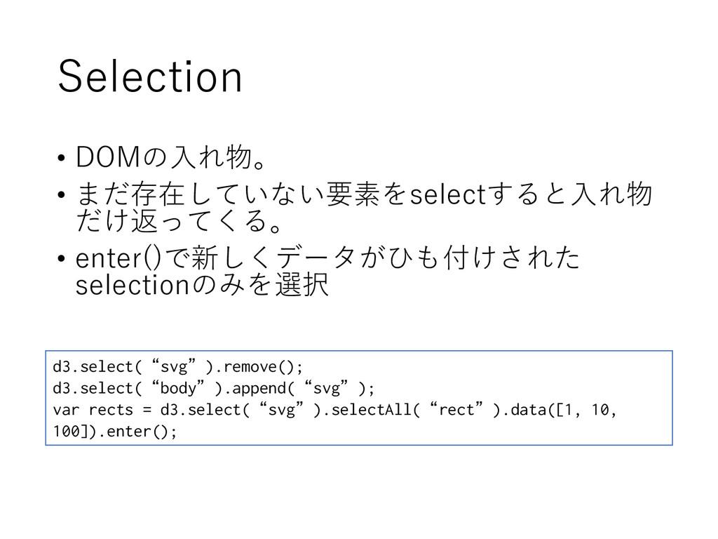 Selection • DOMの入れ物。 • まだ存在していない要素をselectすると入れ物...
