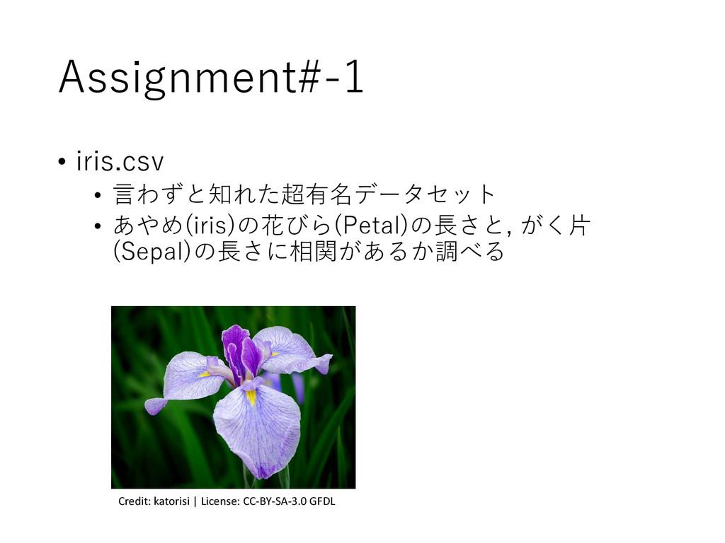 Assignment#-1 • iris.csv • 言わずと知れた超有名データセット • あ...