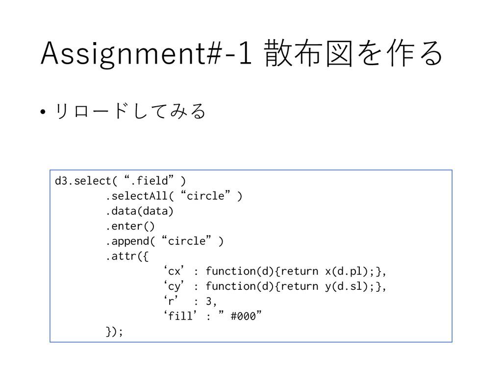 "Assignment#-1 散布図を作る • リロードしてみる d3.select("".fie..."