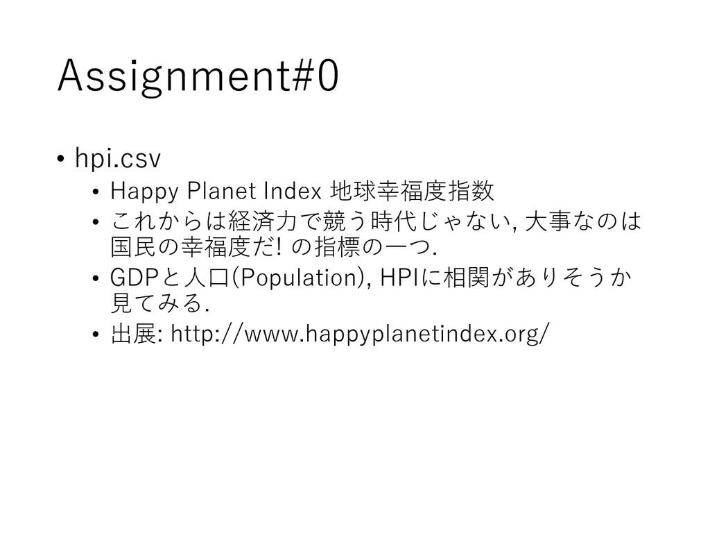 Assignment#0 • hpi.csv • Happy Planet Index 地球幸...