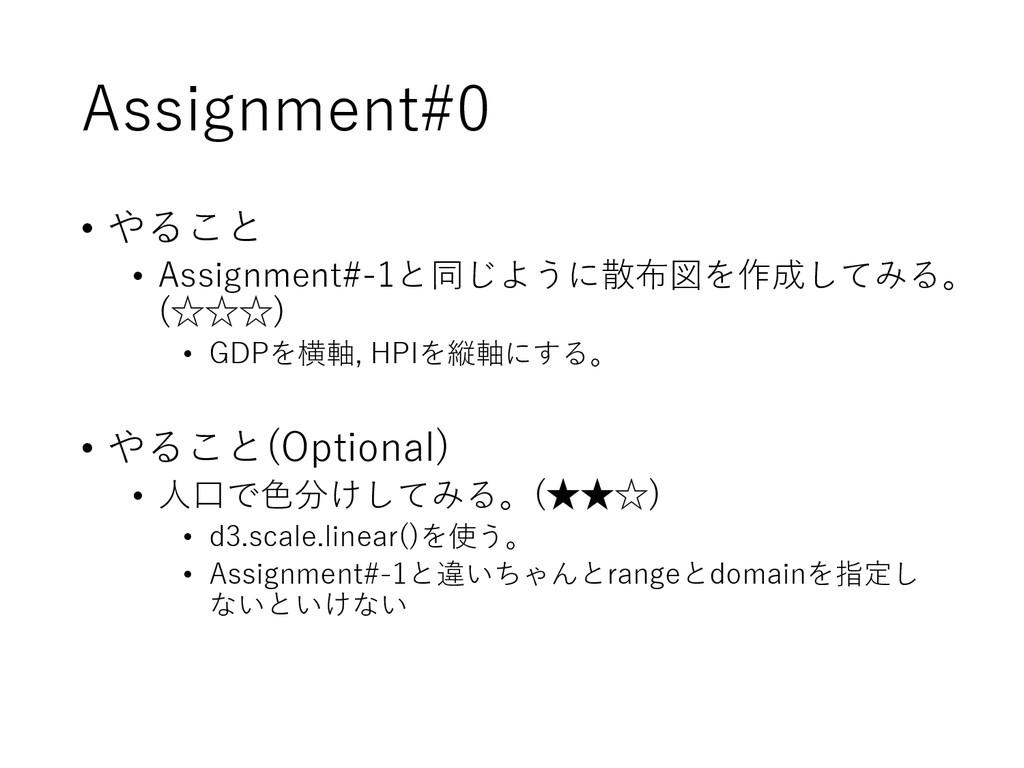 Assignment#0 • やること • Assignment#-1と同じように散布図を作成...