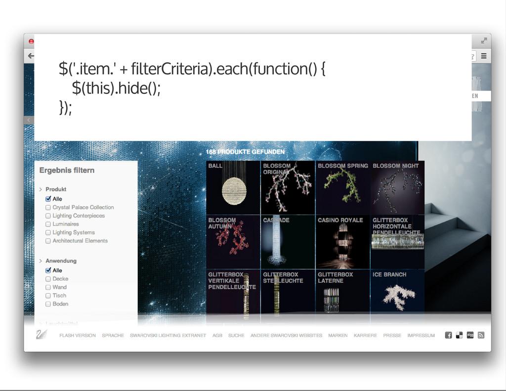$('.item.' + filterCriteria).each(function() { ...
