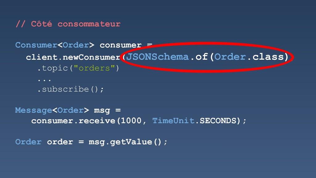 // Côté consommateur Consumer<Order> consumer =...