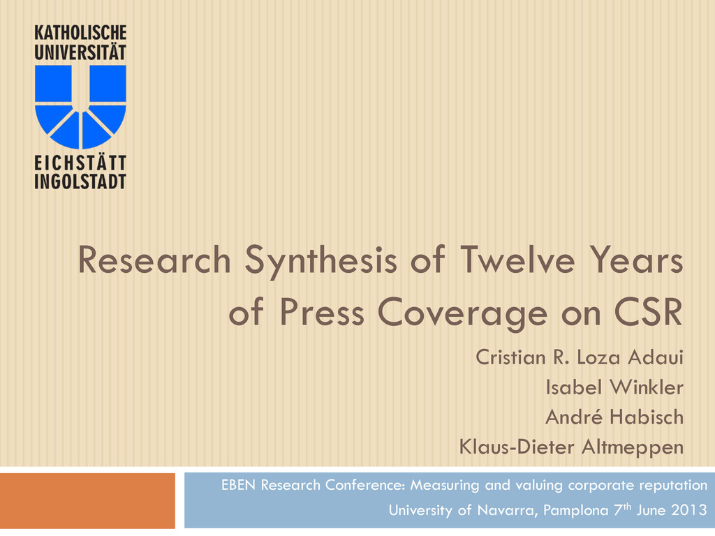 Research Synthesis of Twelve Years of Press Cov...