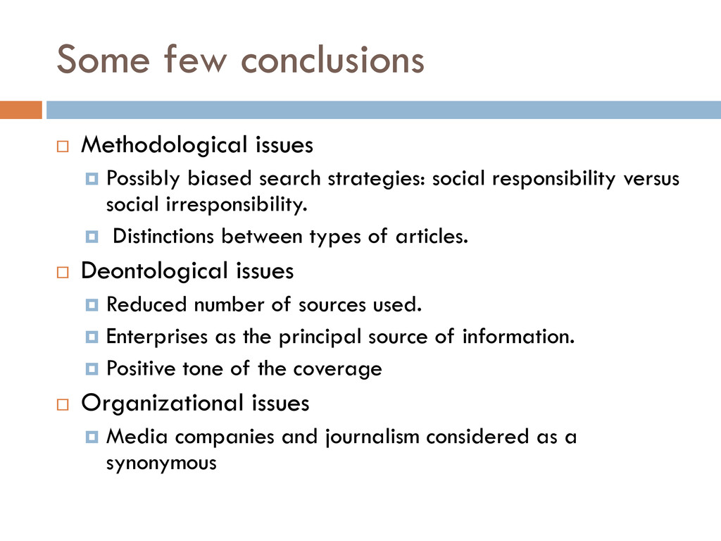 Some few conclusions  Methodological issues  ...