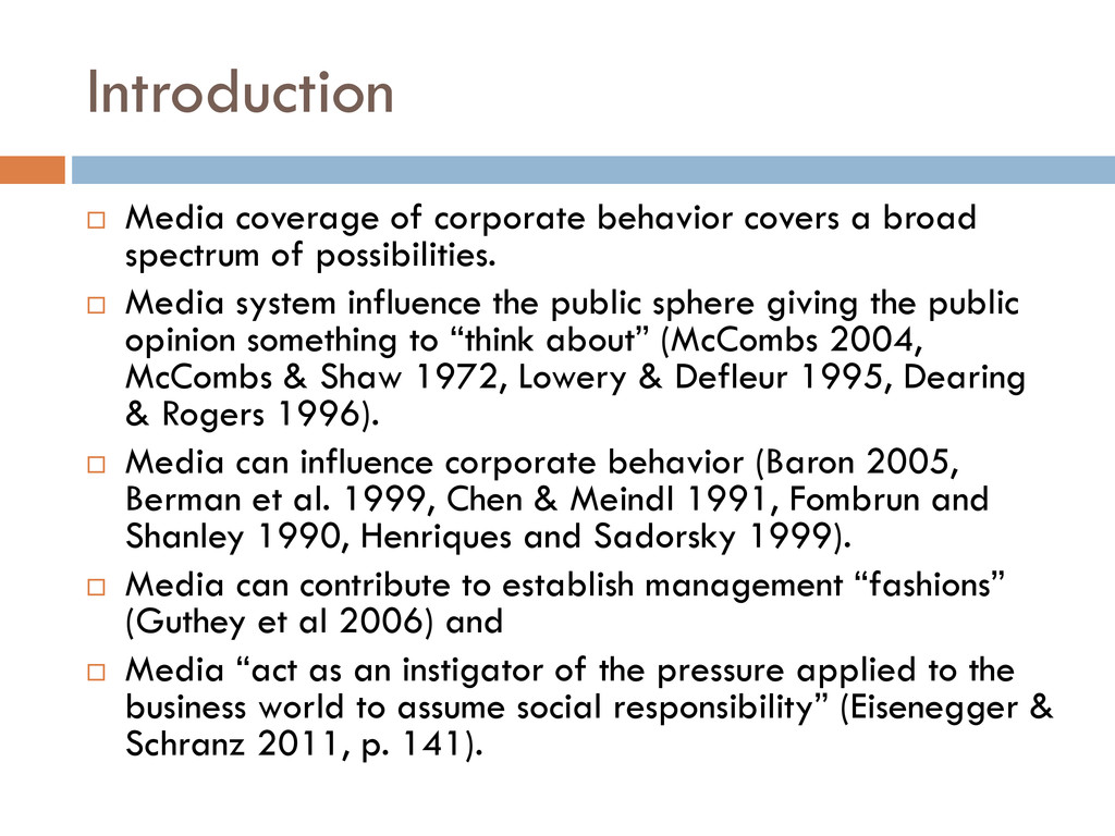 Introduction  Media coverage of corporate beha...