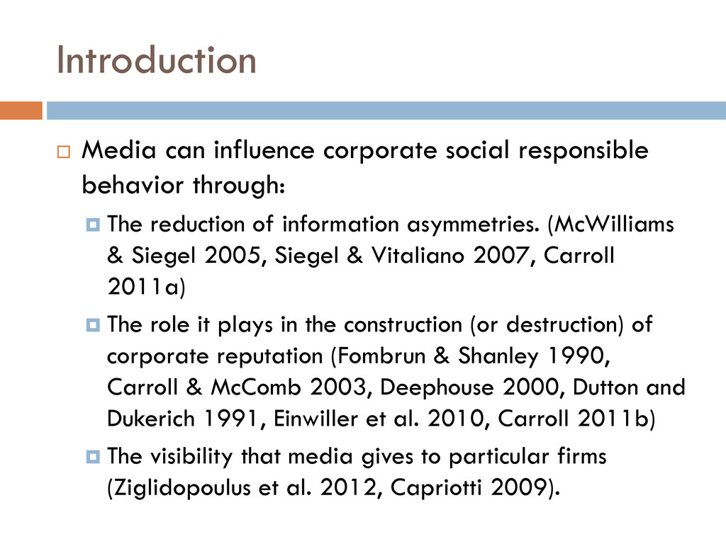 Introduction  Media can influence corporate so...