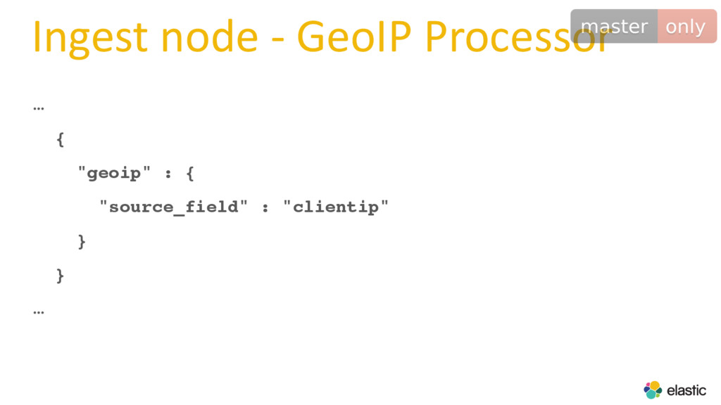 "Ingest node - GeoIP Processor … { ""geoip"" : { ""..."