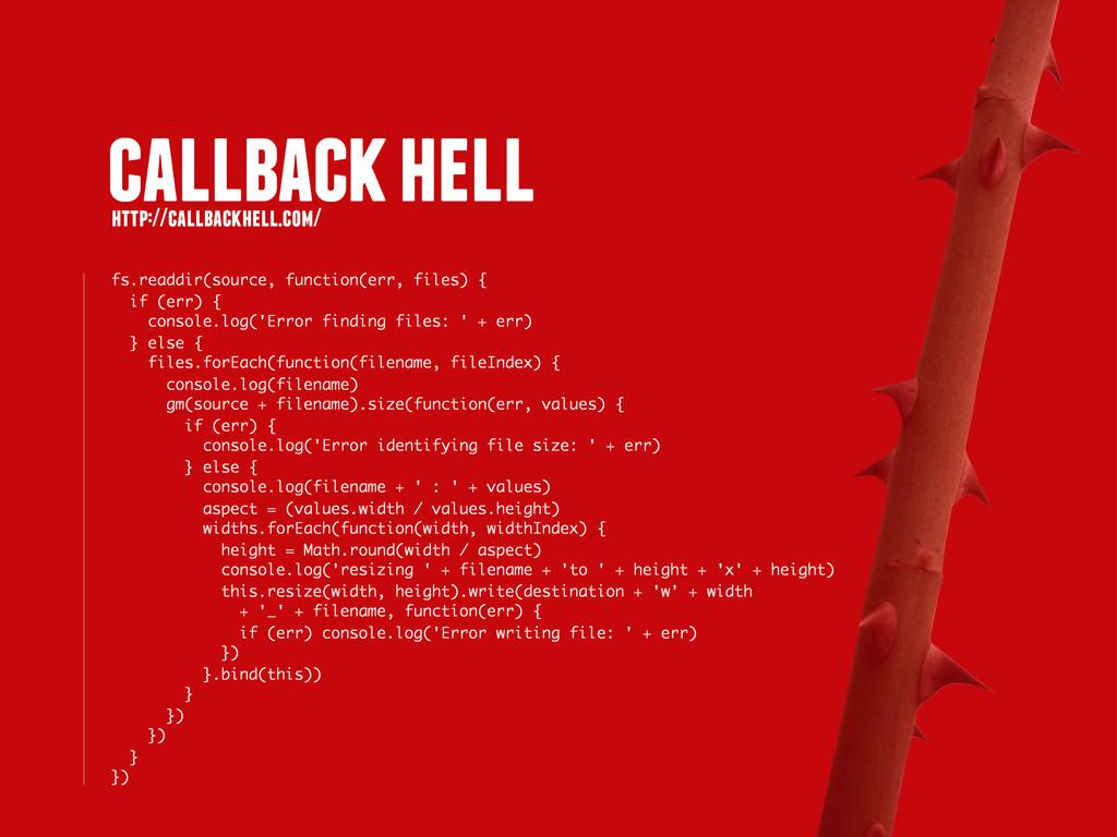 callback hell http://callbackhell.com/ fs.readd...