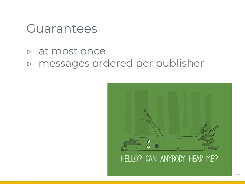 Guarantees ▷ at most once ▷ messages ordered pe...
