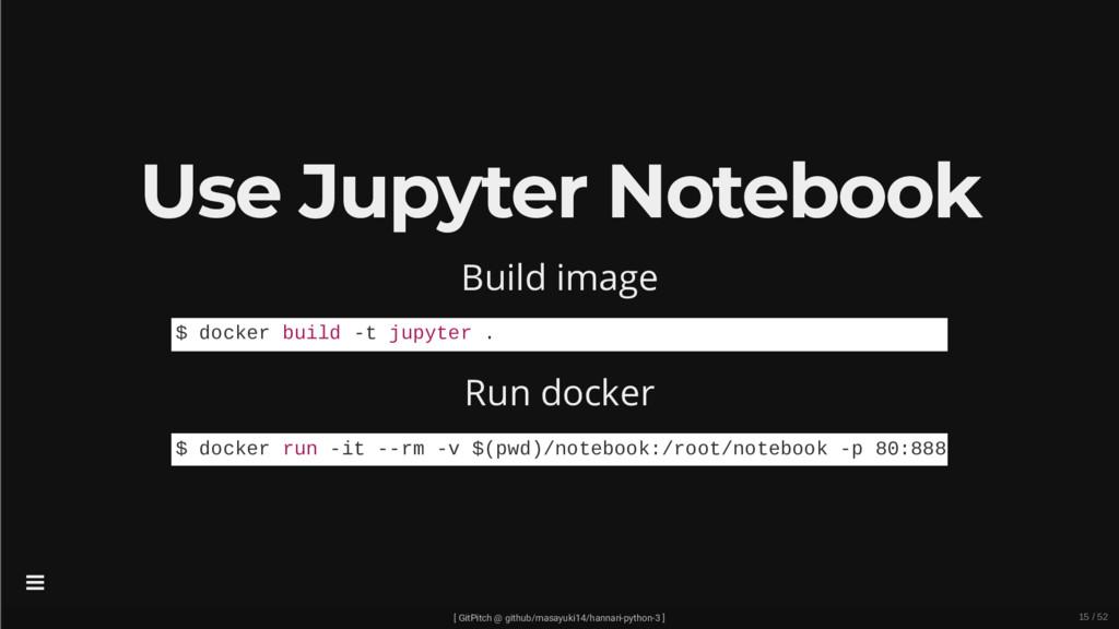 Use Jupyter Notebook Build image Run docker $ d...