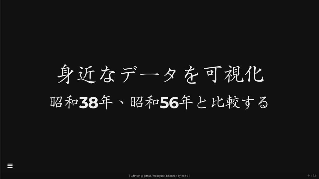 身近なデータを可視化 昭和38年、昭和56年と比較する [ GitPitch @ github...