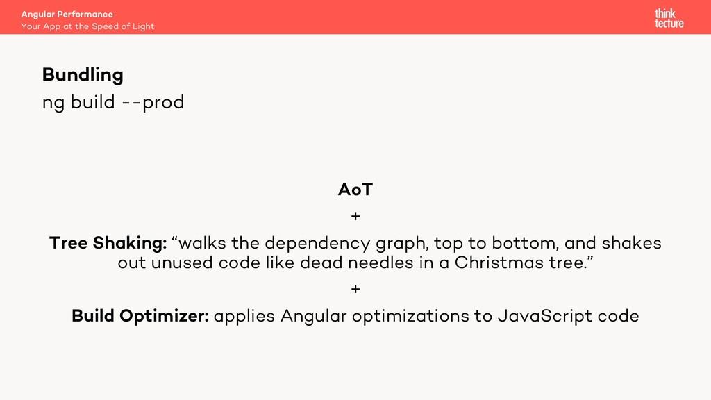 "ng build --prod AoT + Tree Shaking: ""walks the ..."