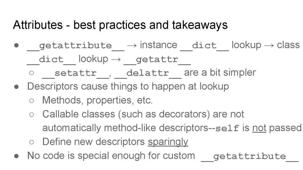Attributes - best practices and takeaways ● __g...