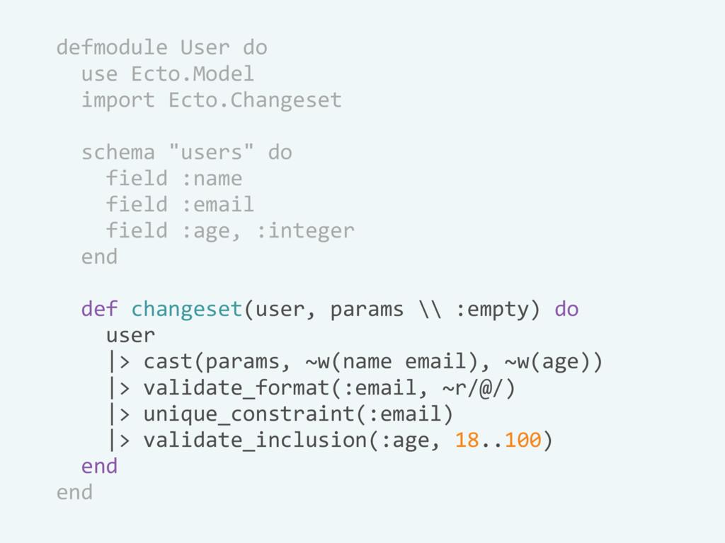 defmodule User do use Ecto.Model import Ecto.Ch...