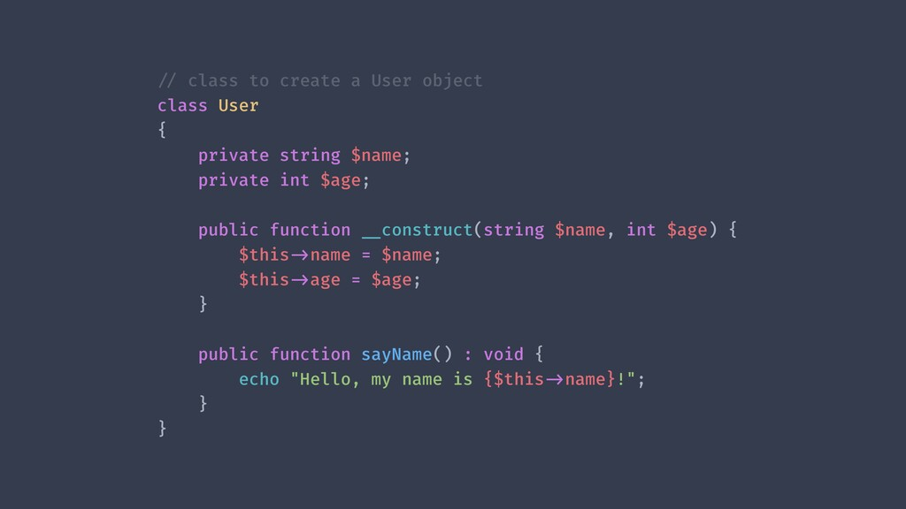 !// class to create a User object class User { ...