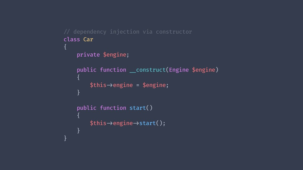!// dependency injection via constructor class ...