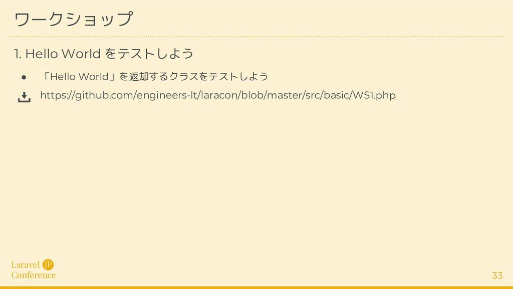 Laravel Conference JP 33 ワークショップ ● 「Hello World...