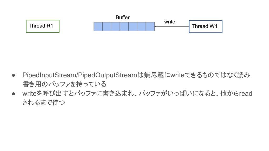 ● PipedInputStream/PipedOutputStreamは無尽蔵にwriteで...