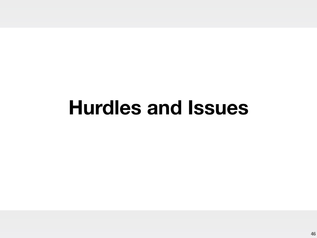 46 Hurdles and Issues