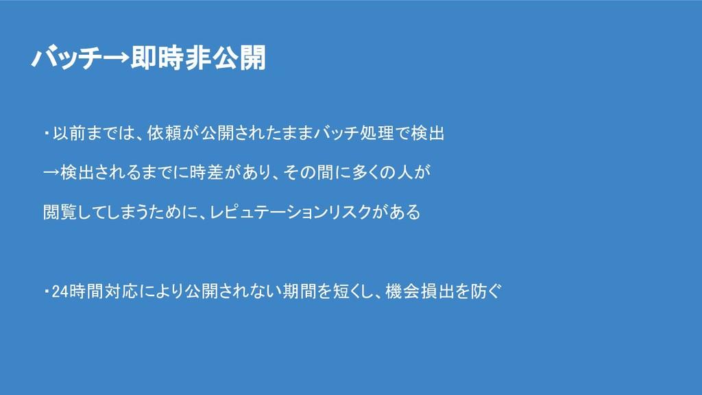 バッチ→即時非公開 ・以前までは、依頼が公開されたままバッチ処理で検出 →検出されるまでに時差...