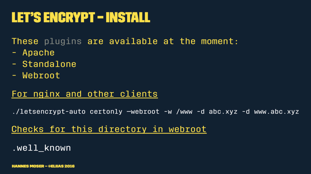 Let's Encrypt – Install These plugins are avail...