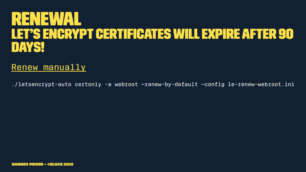Renewal Let's Encrypt certificates will expire a...