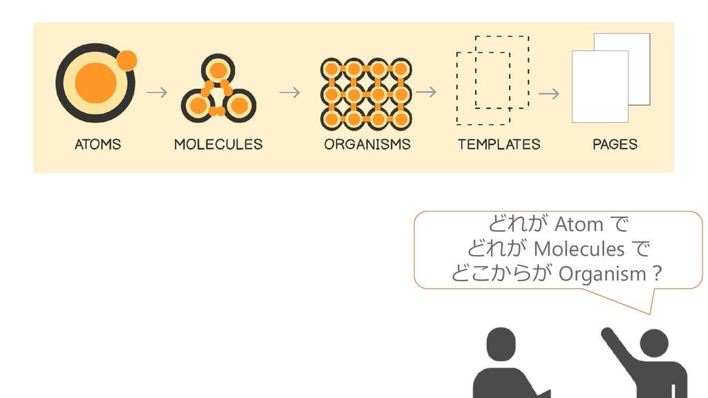 どれが Atom で どれが Molecules で どこからが Organism?