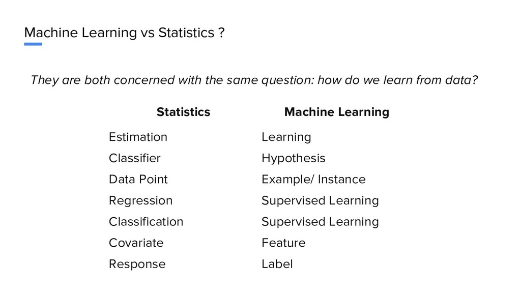 Machine Learning vs Statistics ? They are both ...